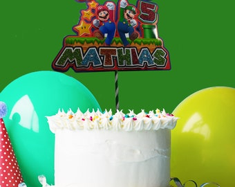 Custom Cake topper Mario Bros, custom Mario Bros topper, Mario Bros Party Decor, Mario Bros Table Decor