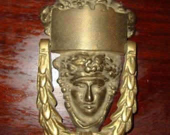 Traditional Antique Victorian Style Grecian Goddess Cast Iron Door Knocker Black