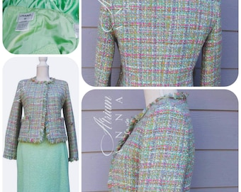 b237e8f024d9 Chanel Tweed Easter Pastel Color Light Green Colorful Skirt Suit