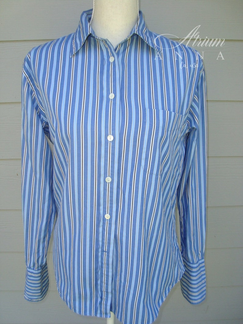 1939e3bf F. by Faconnable Blue Striped Button-Down French Cuff Vintage | Etsy