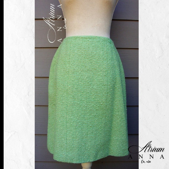 Chanel Tweed Neon Green Pastel Pencil Skirt