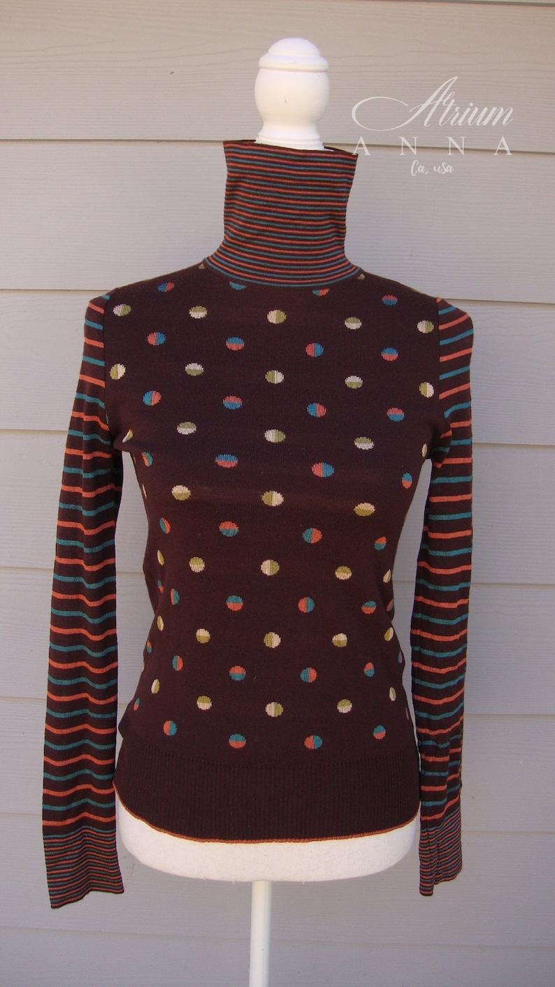 0947446d44 Chloé Wool Blend Mock-Neck Playful Vintage Sweater/Damaged, TS