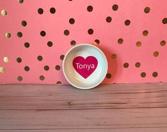 Candy Heart Round Ring Dish