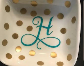 Porcelain Monogram Personalized Ring Dish
