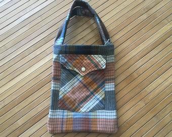 plaid handbag made from recycled western shirt
