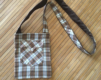 brown plaid purse made from recycled western shirt