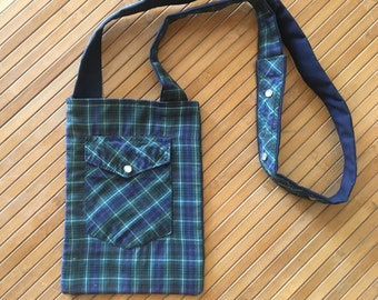 blue and green plaid purse made from recycled western shirt