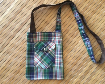 multicolored plaid purse made from recycled western shirt