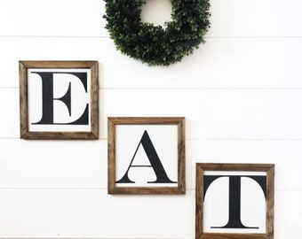 eat sign eat letters farmhouse kitchen wall decor kitchen wall art kitchen signs rustic home decor