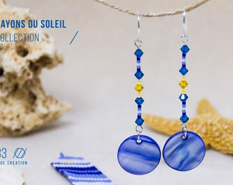 aaec30f31a4b Pendientes largos Azul y Amarillo