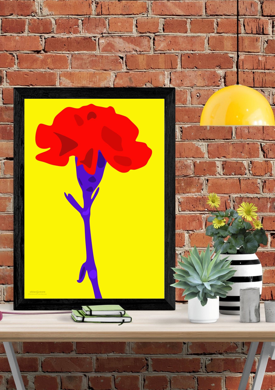 Floral Pop Art design. Modern wall art. Contemporary art | Etsy