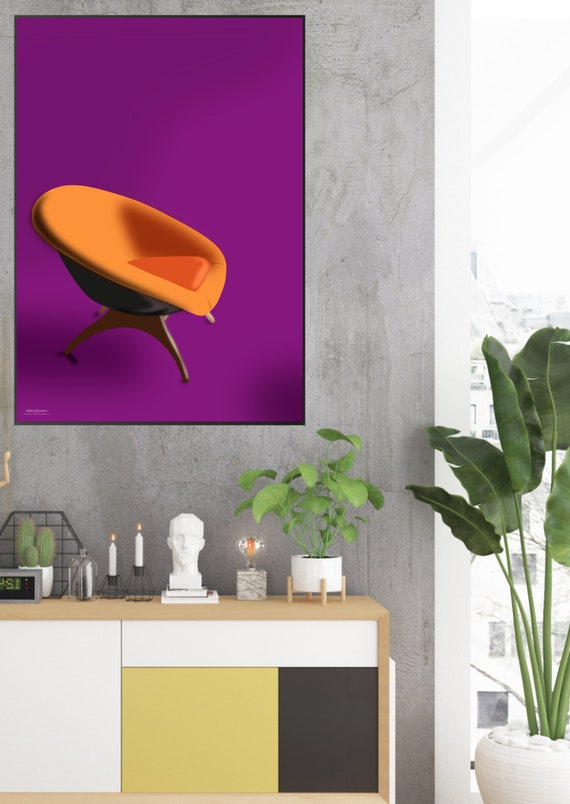 Wondrous Mid Century Modern Chair Design In Orange And Purple A Retro Art Print In Strong Colors That Looks Great With Any Contemporary Decor Style Ibusinesslaw Wood Chair Design Ideas Ibusinesslaworg