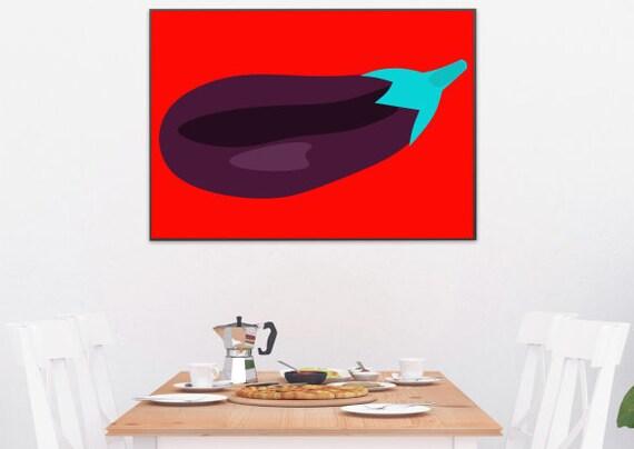 Modern kitchen wall art. Pop Art eggplant printable art. | Etsy