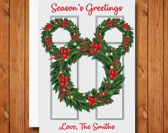 disney christmas cards mickey door wreath christmas cards mickey mouse christmas cards personalized christmas cards disney holiday cards