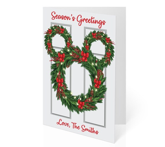 Disney Christmas Cards.Disney Christmas Cards Mickey Door Wreath Christmas Cards Mickey Mouse Christmas Cards Personalized Christmas Cards Disney Holiday Cards