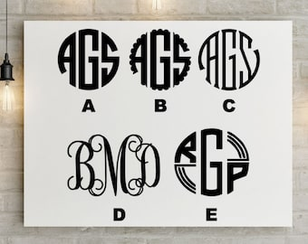 PAIR of Vinyl Monogram Decals for Car, Laptop, Cups, Coolers - Choose Colors, Font, Size - Initials Sticker
