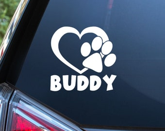 Personalized Heart Paw Print Vinyl Decal - Choose Font, Color, Size - Pet Name - Bumper Sticker - Car Window Decal - Crate Sticker