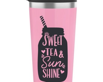 Sweet Tea and Sunshine Vinyl Decal - Choose Colors and Size - Car Window, Laptop, Yeti Decal - Custom Sticker
