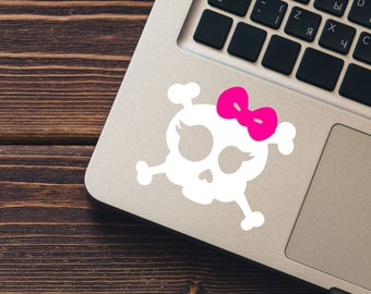 Skull with Bow and Lashes Vinyl Decal - Choose Colors and Size - Car Window, Laptop, Yeti Decal - Custom Sticker