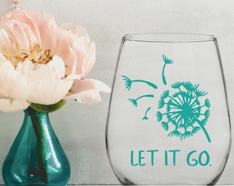 Blowing Dandelion Let it Go Vinyl Decal - Choose Colors and Size - Car Window, Laptop, Yeti Decal - Custom Sticker