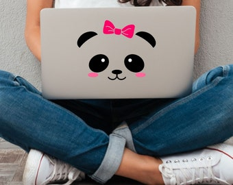 Panda Face with Bow Vinyl Decal - Choose Colors and Size - Car Window, Laptop, Yeti Decal - Custom Sticker