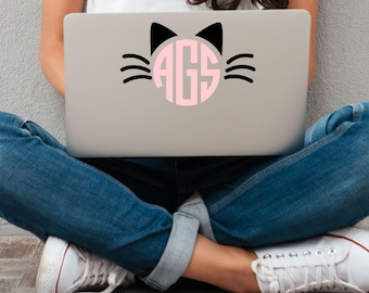 Cat Ears Whiskers Monogram Vinyl Decal - Choose Colors and Size - Car Window, Laptop, Yeti Decal - Custom Sticker