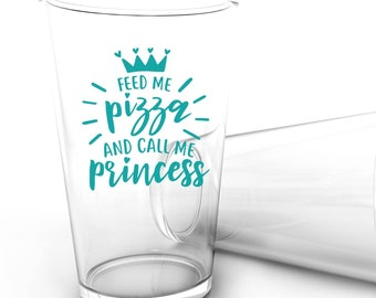 Feed Me Pizza Call Me Princess Vinyl Decal - Choose Colors and Size - Car Window, Laptop, Yeti Decal - Custom Sticker