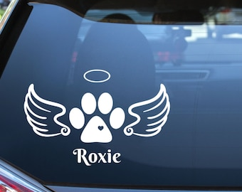 Angel Paw Print Memorial Vinyl Decal with Wings and Halo - Choose Colors and Size - Car Window, Laptop, Yeti Decal - Custom Sticker