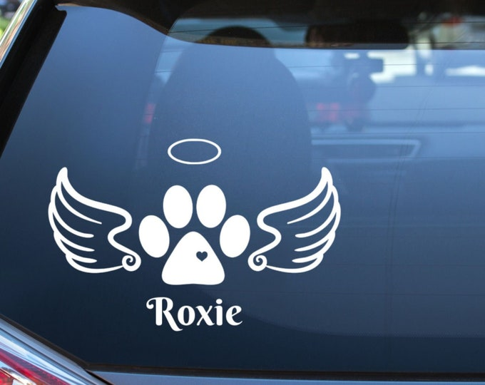 Featured listing image: Angel Paw Print Memorial Vinyl Decal with Wings and Halo - Choose Colors and Size - Car Window, Laptop, Yeti Decal - Custom Sticker