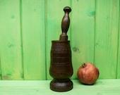 Vintage carved wooden mortar.