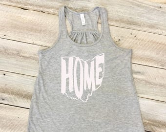 Ohio Home Tank Top, Ohio State Outline, Ohio State Shape, Ohio Home Shirt, Women's Racerback Flowy Tank Top