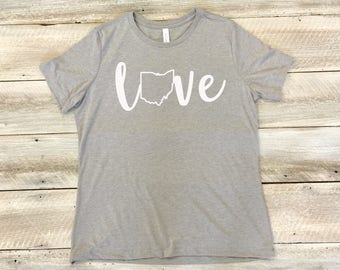 Love Ohio Shirt, Ohio Shirt, Ohio Shirt Women, Ohio Tshirt Women, Ohio Tee Shirt, Ohio State Outline, Women's Relaxed Fit Tee, T-Shirt