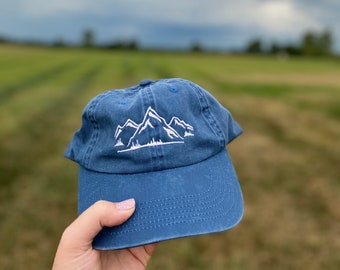 Christmas Gift, Mountain Hat, adventure, Hiking Hat, pigment dyed hat, cool hat,Birthday gift, aesthetic vibes, Women's Hat, Embroidered hat