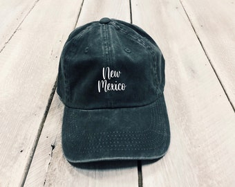 Christmas Gift, New Mexico Script Hat, Gift for her, New Mexico State Hat, Pigment dyed hat, Home State Hat, Embroidered hat, Women's Hat