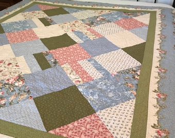 Breast cancer quilt, twin quilt, pink and blue