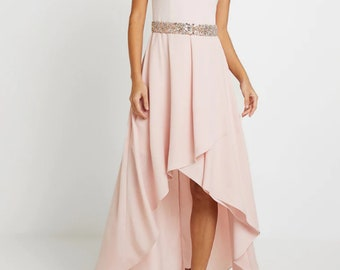 f3162dfebe6 80s prom dress graduation silk chiffon Airy casual wedding pink formal sexy  prom Dusty pink pale asymmetrical 50s prom homecoming