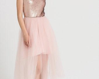 e4370bdcf27465 Jurk met pailletten roze Tule jurk bruidsmeisje lange tulle rok sequin tulle  rok Tule blauw zwarte verjaardag witte lange tulle jurk
