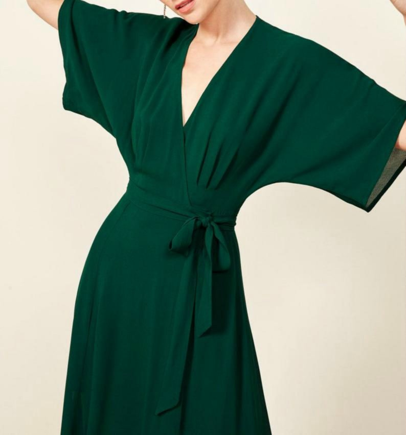Wrap maxi wedding dress Bohemian bridesmaid silk dresses for wedding Long silk chiffon dress 70s Wedding guest dresses for women