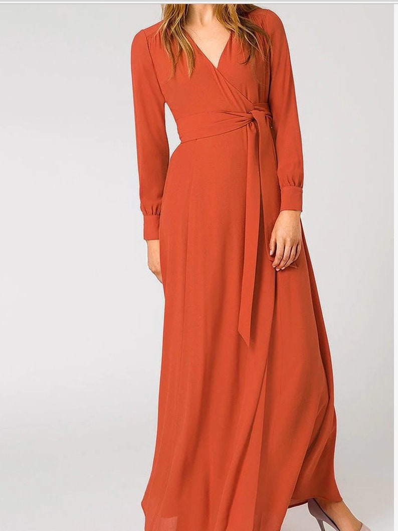 Wrap maxi dress v neck linen red wrap dress Floral cotton evening kaftan maxi graduation dress Infinity long silk chiffon bridesmaid