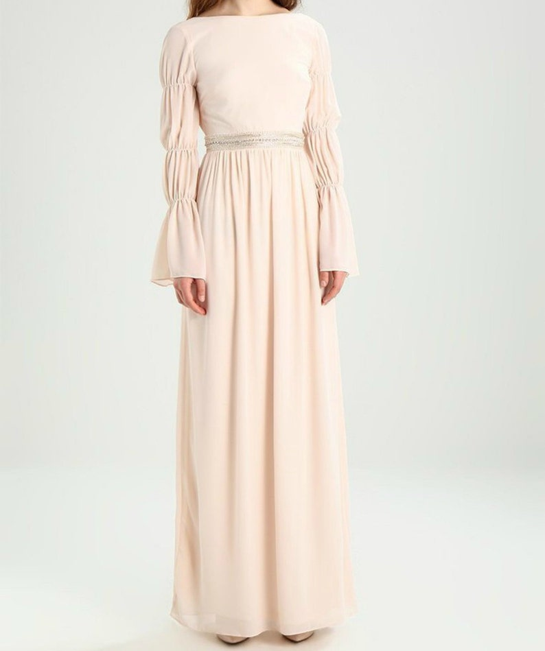 9498f62a09a Blush wedding dress modest 70s chiffon 80s prom greek style