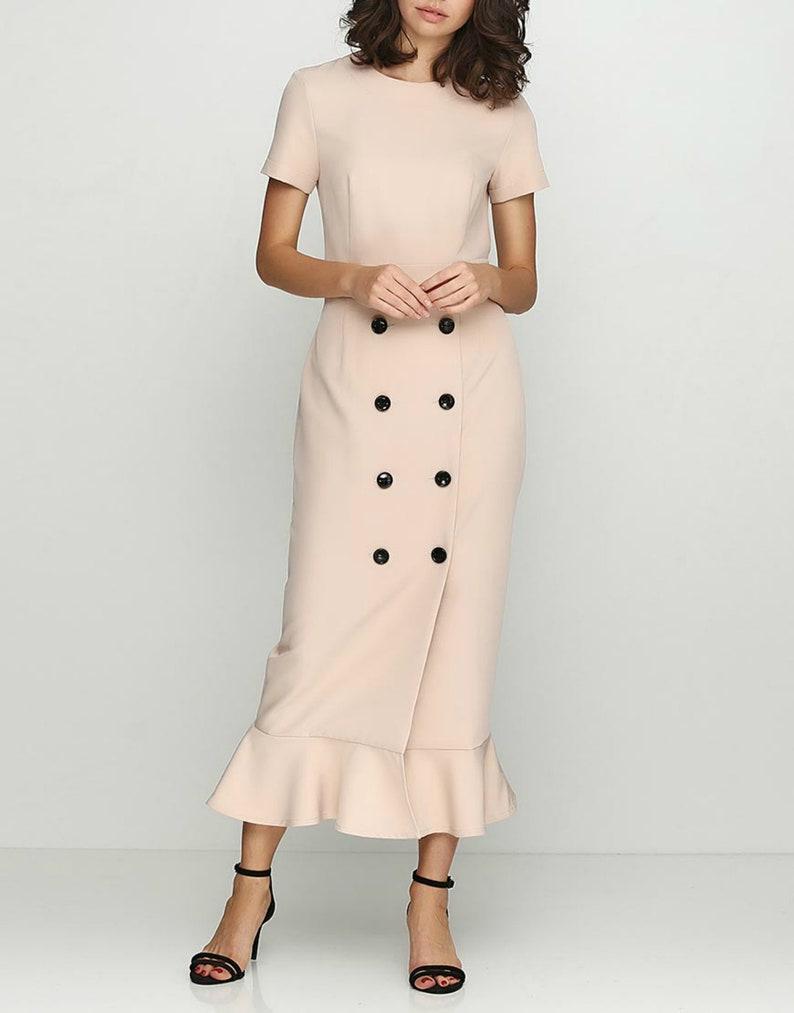 7a436c71c4 Maxi button dress 80s 50s custom prom dress Graduation 70s