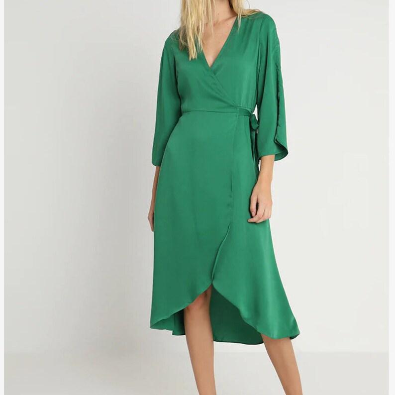 a84633dcde5 Wrap dress maxi green Linen wrap dress Kaftan 70s maxi dress