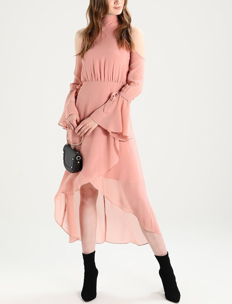 f88c62f3c9 Pink formal dress graduation Asymmetrical wrap maxi around