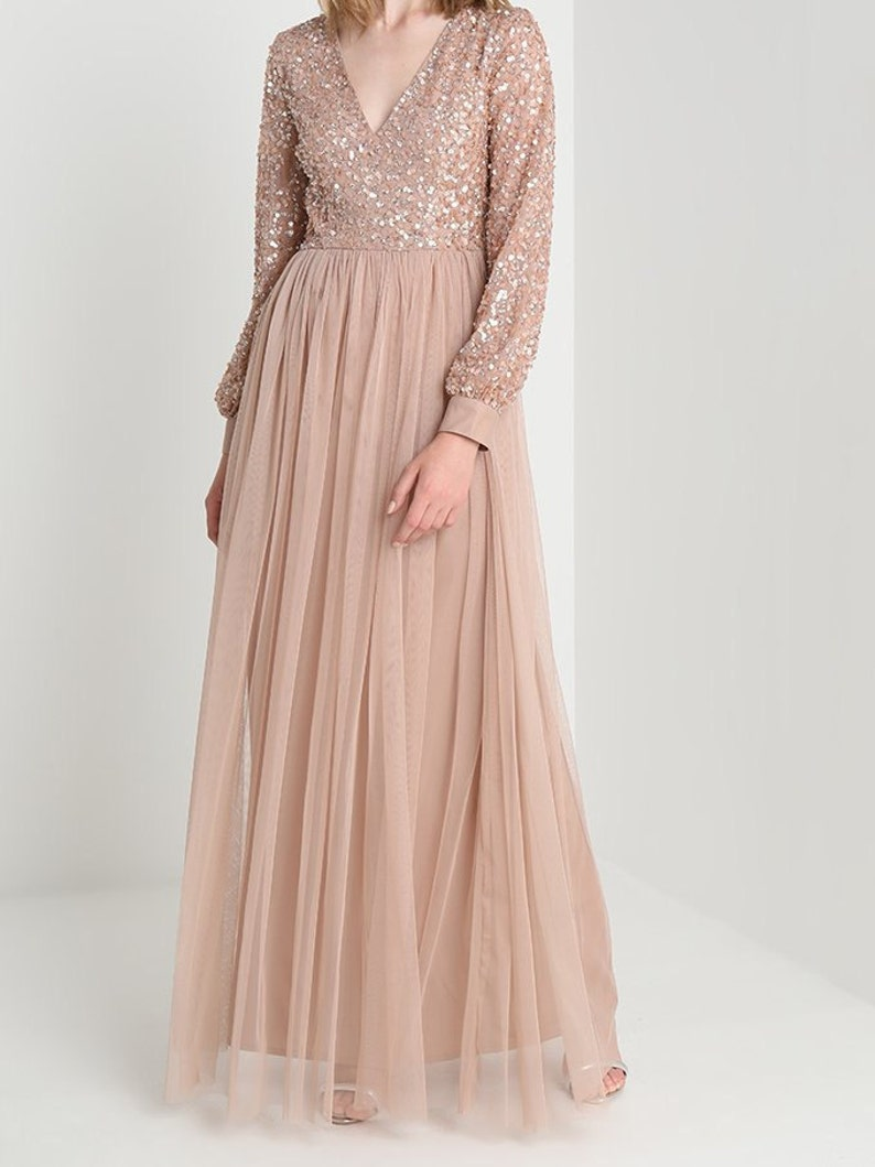 33cf15f6053 Modest wedding dress graduation Sequin maxi party dress with