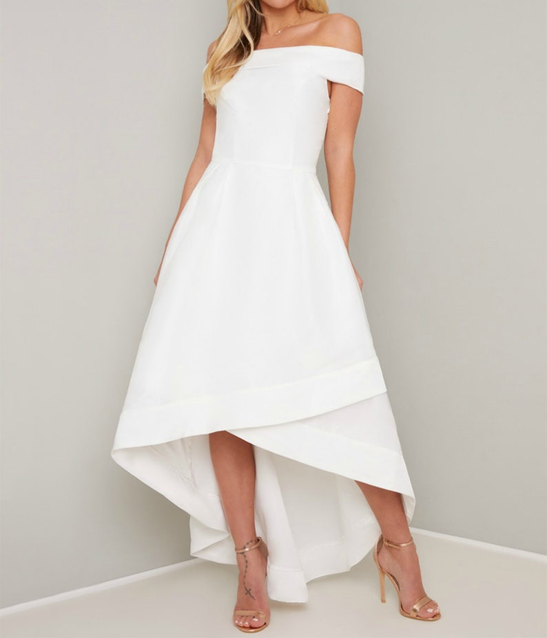 Asymmetric Dress Bridal Shower Kaftan Maxi Graduation Green Formal Modest Off Shoulder Wedding Guest Unique 1950s Summer High Low Dress