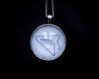 Pendant necklace minimalist paper airplane