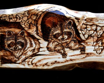 Raccoons Wood Burned Art, Wildlife Pyrography Gift