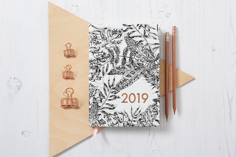 A5 2019 Week to view Mono Botanical diary, Week to view planner, 224 pages,  Planner, goals, journal