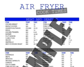 Air Fryer Cook Times Printable