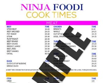 Ninja Foodi Cook Times Printable